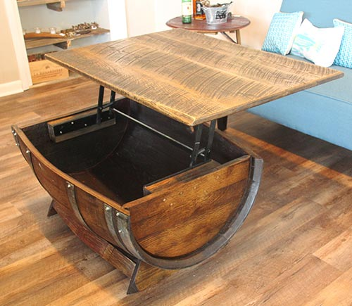 Premium oak barrel coffee table with lift off top