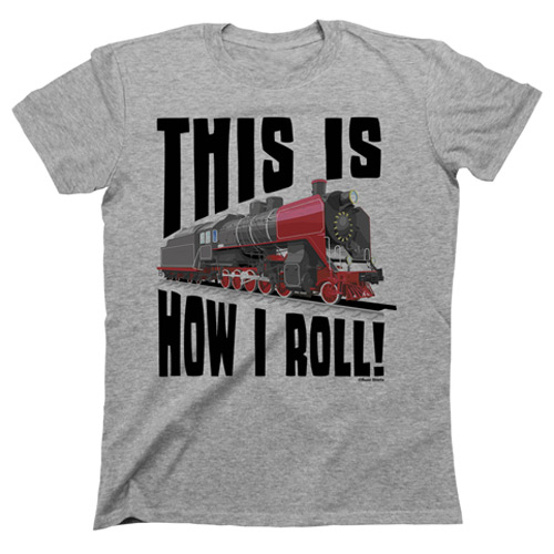 Railroad and train t-shirt with locomotive