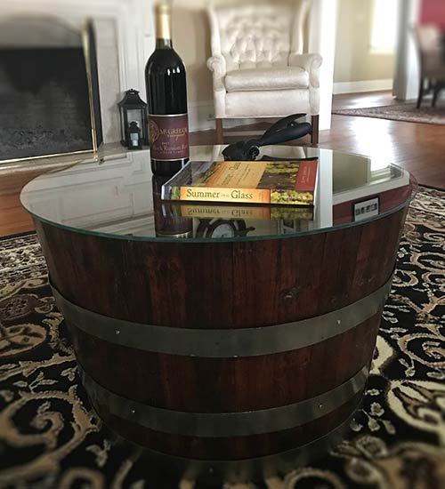 Coffee Table Made From An Oak Barrel