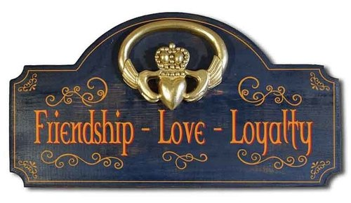 Irish Wall Decor Sign - Friendship, Love, and Loyalty - Claddagh