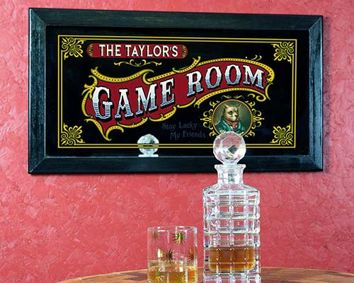 "Antique ""Game Room"" decor bar mirror"
