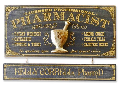 Personalized Vintage Pharmacist Plaque