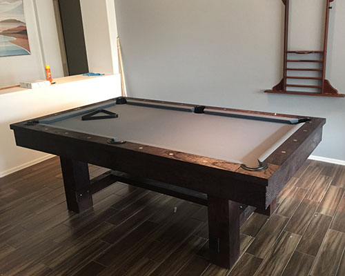 Rustic Wood Billiards Table