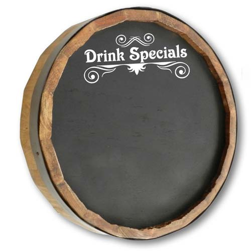 Barrel Head Chalkboard Drink Specials
