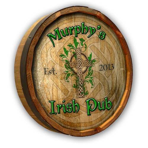 Irish Pub Quarter Barrel Sign Personalized - A great St Paddy's Day Gift