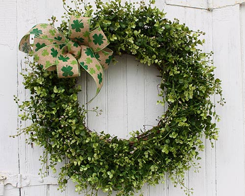 Clover and shamrock wreath for Saint Patrick's Day