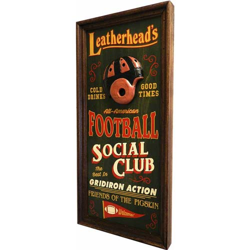 Personalized antique-style football sign for the gameroom