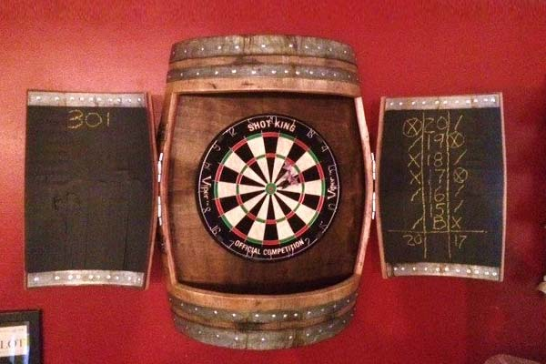 Cabinet for your dart board and chalkboard score sheet, made from an oak barrel
