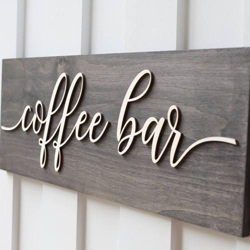 Wooden Coffee Bar Decor Sign