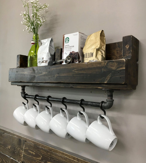 Coffee Bar Decor Ideas - Wall Mounted Coffee Mug Rack