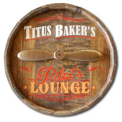Pilot's Lounge Custom Quarter Barrel Sign