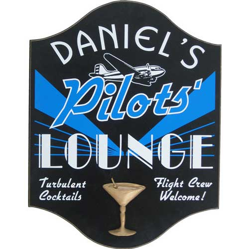 Personalized Pilot's Lounge Sign