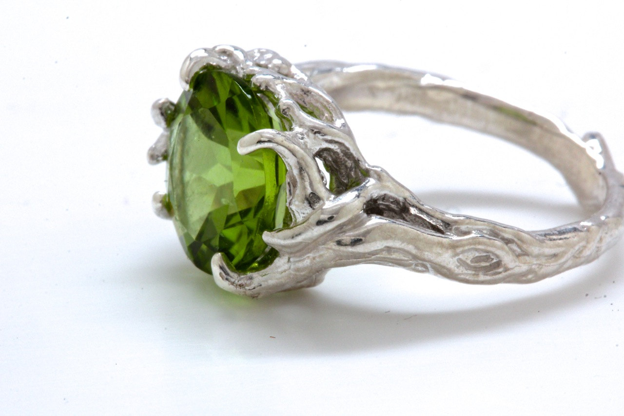 Saint Patrick's Day Jewelry - Peridot Ring in Sterling Silver