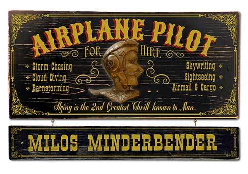 Airplane Pilot Gift Idea Personalized Pilot Sign