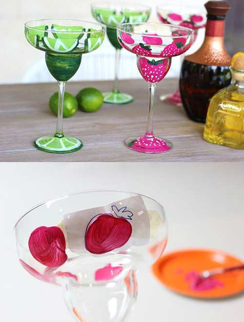 DIY Margarita Gifts - Hand painted glasses