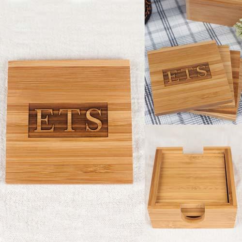 Personalized Bamboo Wood Coaster Set