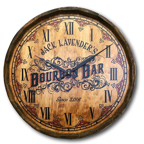Bourbon Bar Clock Made from a Barrel Head - Personalized