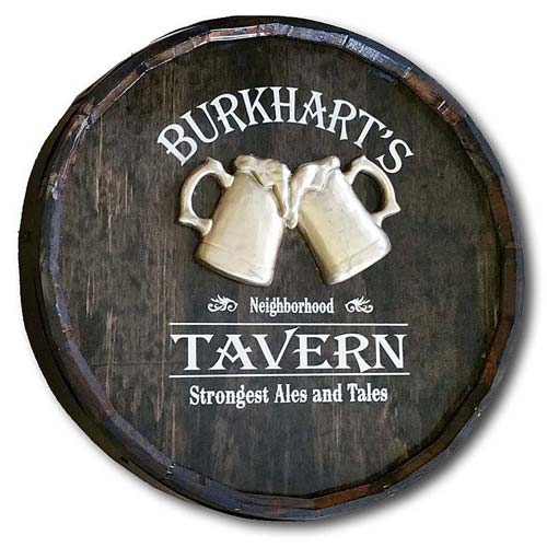 Home Bar Decor - Personalized Quarter Barrel Head Signs