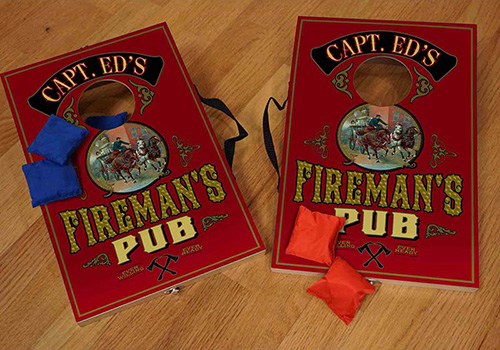 Corn Hole Game Set Customized for the Fire Station