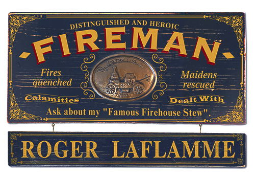 Vintage Personalized Fireman Sign