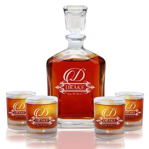 Whiskey Decanter & Glasses Set