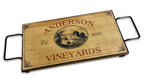 Wood and Wrought Iron Serving Tray - Vineyards Theme
