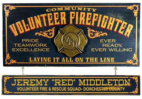 Personalized Volunteer Fire Fighter Sign - Gift Ideas for Firefighters