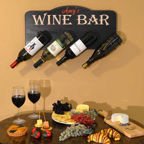 Personalized wooden wine rack for four wine bottles