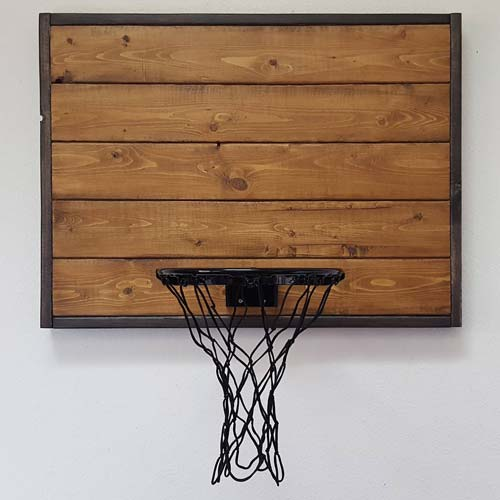 Classy, rustic basketball hoop for the coach's office