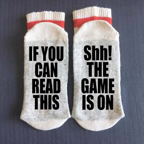 Shh! The Game is On Socks for a Coach