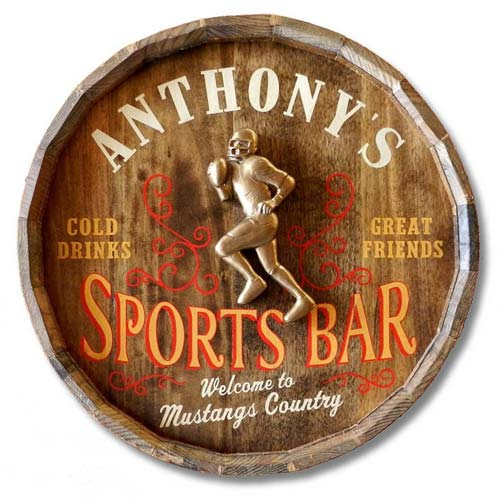 Personalized Coach Gift Ideas: Custom Sports Bar Barrel Head Sign