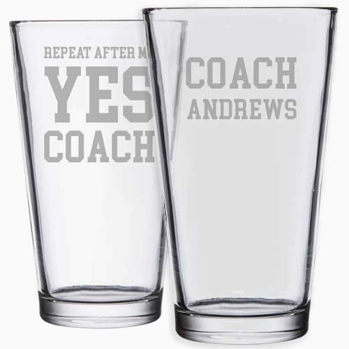 Custom Engraved Coach's Pint Glass