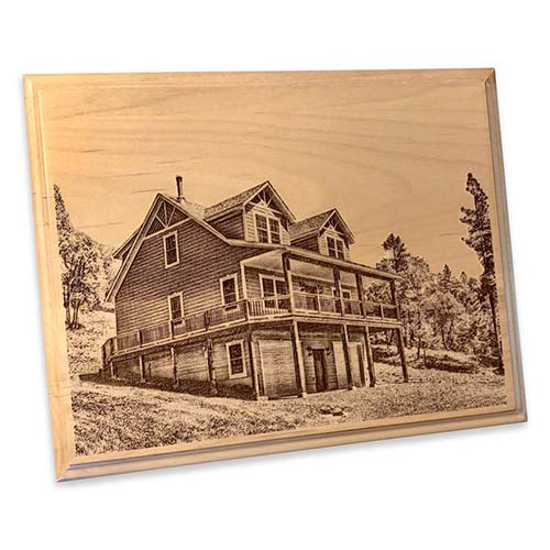 Alder wood plaque, ready to hang, custom laser engraved with a portrait of their home. Affordably priced with quick turnaround, this is the perfect personalized real estate closing gift idea!