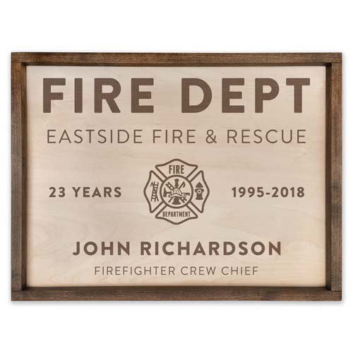 Personalized Wooden Firefighter Plaque - Gift