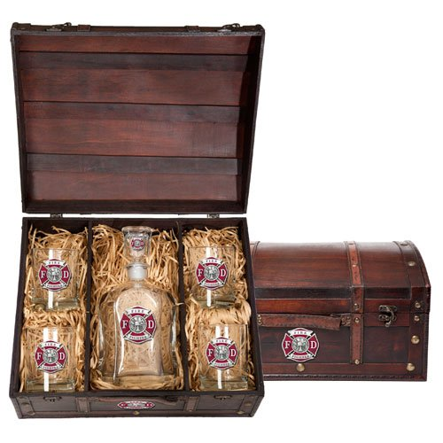 Fireman Gift Ideas: Decanter and Glass set in heirloom wood box