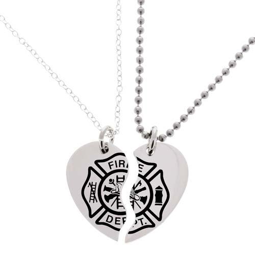 Firefighter Gift Ideas: Matching Necklace Heart Set