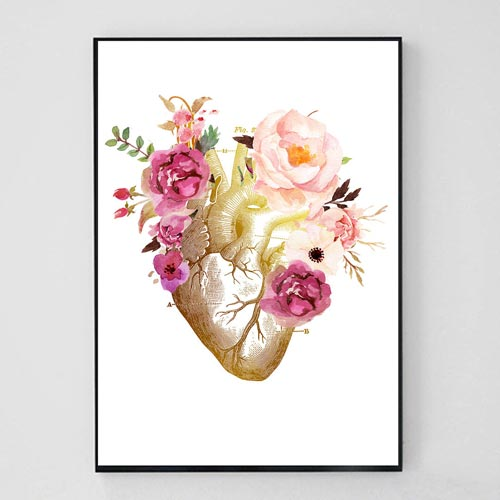 Floral Heart Print for Cardiology Office