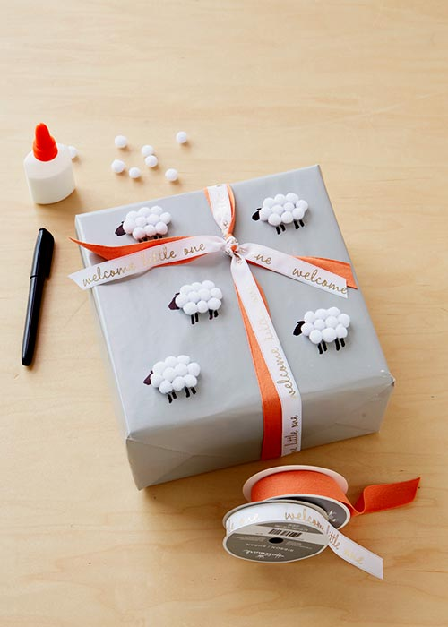 Cute Lamb PomPom Wrapping Paper
