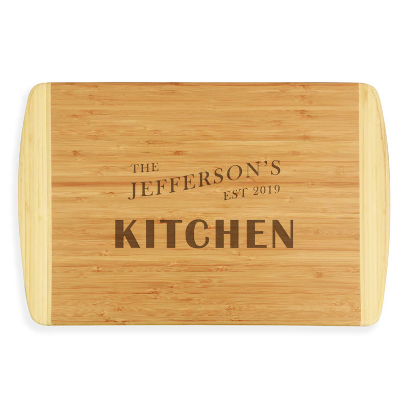 Custom laser engraved bamboo wood cutting board