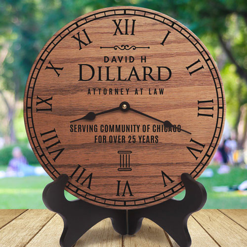 Lawyer Gift Ideas: Laser engrave wooden clock for lawyer or attorney