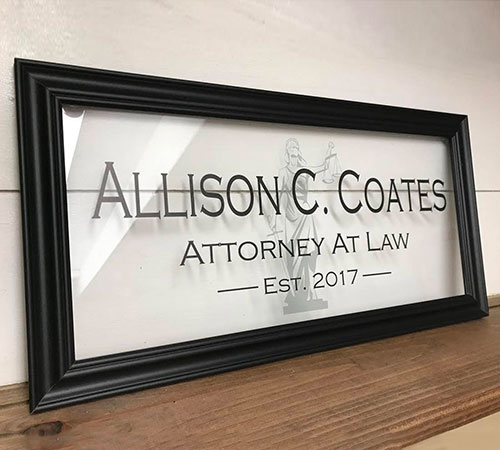 Framed Glass Sign, Custom Etched for an Attorney