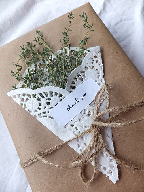 Wrapping Gifts with Herbs