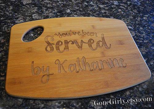 Custom Engraved Bamboo Serving Tray and Cutting Board