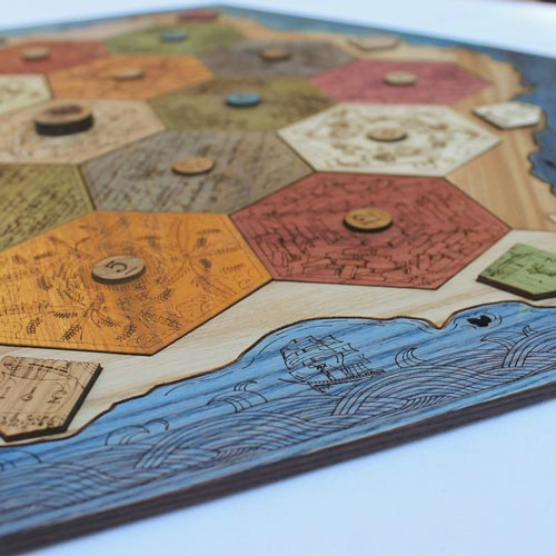 Custom crafted wooden Settlers of Catan board