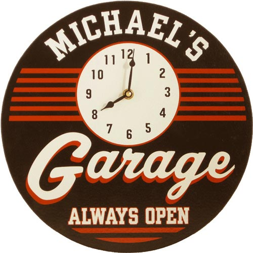 Garage decor clock sign customized with his name
