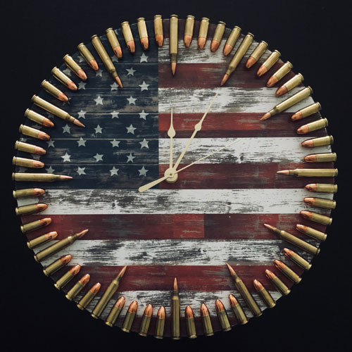Bullet Clock with American Flag Art