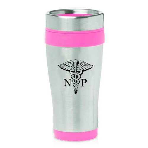 Pink nurse practitioner mug with caduceus symbol