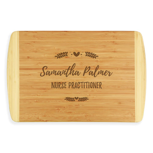 Custom engraved bamboo cutting board for Nurse Practitioner