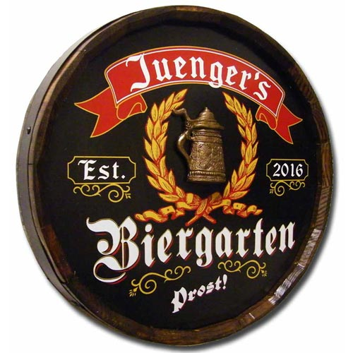 Personalized German Biergarten Quarter Barrel Sign