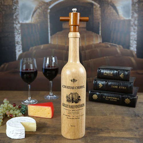 Custom Wooden Wine-Bottle Shaped Pepper Grinder